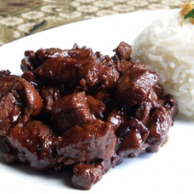 SLOW COOKED PORK IN SWEET SOY SAUCE WITH RICE, FRIED RICE OR NOODLES