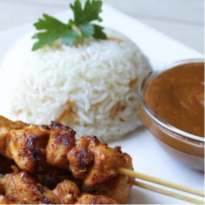 CHICKEN SATAY WITH RICE, FRIED RICE OR NOODLES